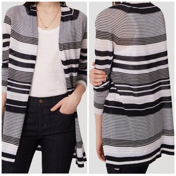 310b45b9c2 LOFT Striped Fine Knit Open Cardigan Sweater